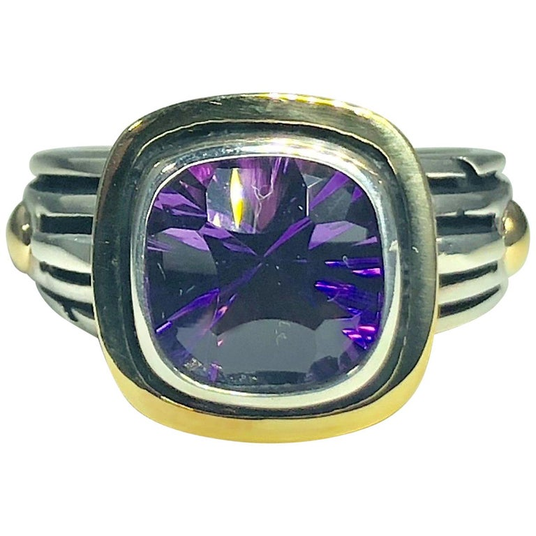 John Atencio 18 Karat Sterling Amethyst Cocktail Ring For Sale