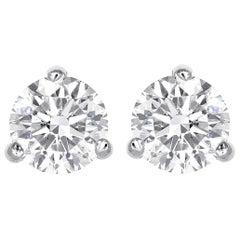 0.74 Total Carat Weight Round Brilliant Cut Diamond Stud Earrings