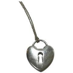 Tiffany & Co. Silver Heart Padlock Charm Necklace
