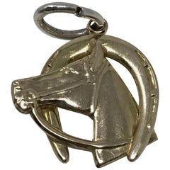 Gold Vintage 14 Karat Horse with Bridle and Horse Shoe Charm/Pendent Charm
