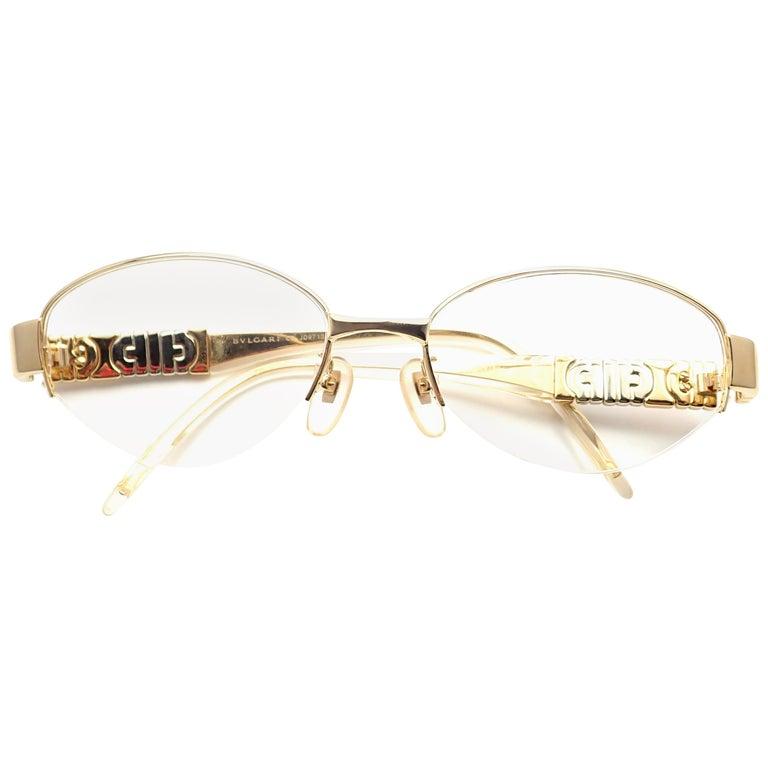Bulgari Diamond Solid Yellow Gold Eyeglass Frame