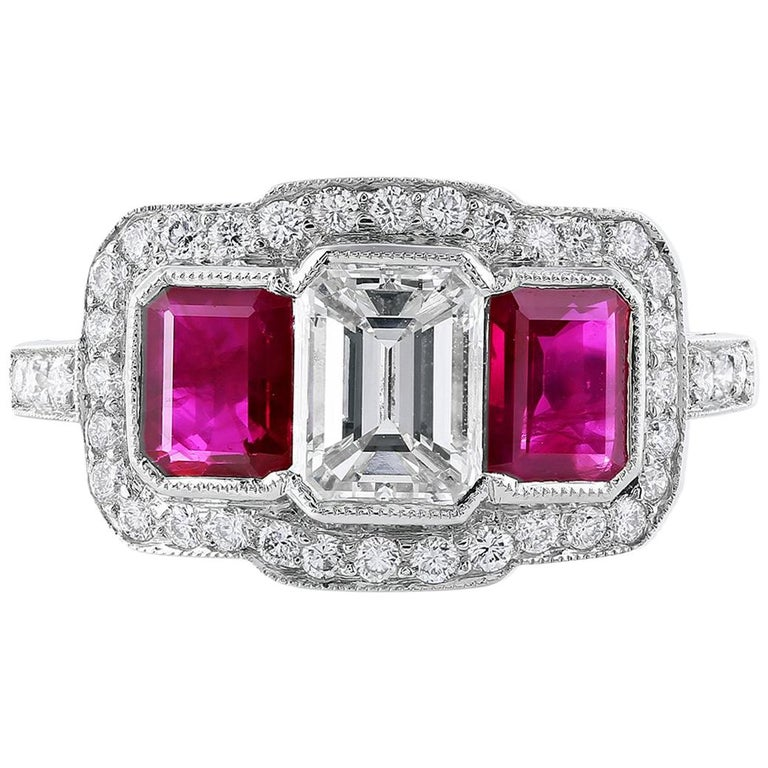 Platinum Emerald Cut Diamond and Ruby Ring