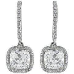 Platinum 4.02 Total Carat Weight Cushion Cut Diamond Drop Earrings