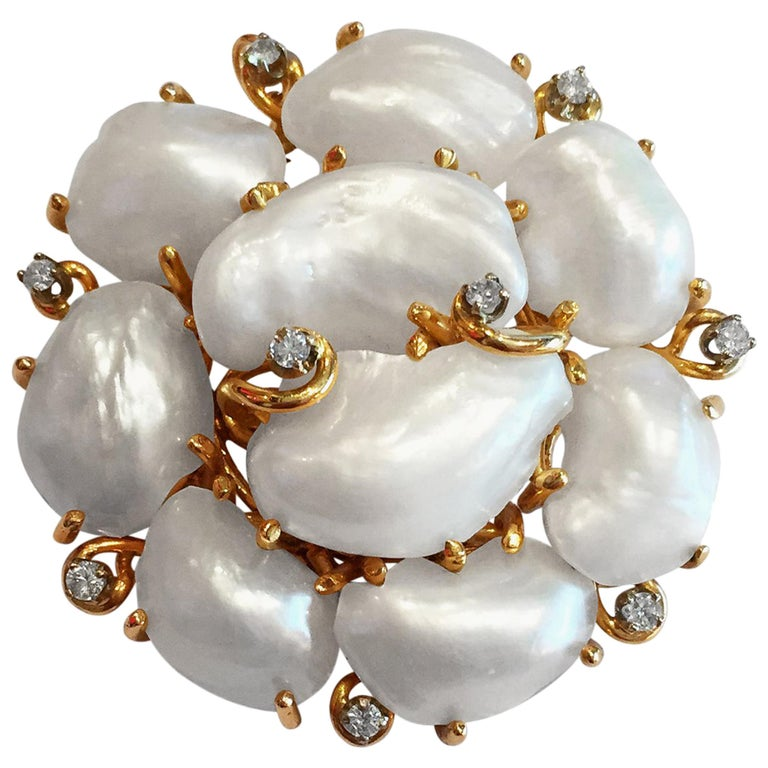 Fresh Water Cultured Pearl and Diamond Brooch and Pendant