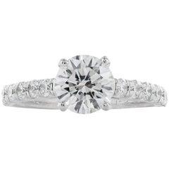 1.27 Carat Round Brilliant Cut Diamond Solitaire Ring