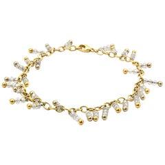 18 Karat Yellow Gold, Platinum and 18 Carat Diamond Bead Anklet