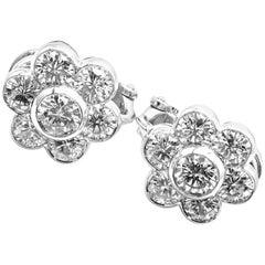 Van Cleef & Arpels Platinum Diamond Flower Earrings
