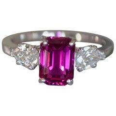 Pink Sapphire and Diamond Platinum Engagement Ring 3.5 Carat, Ben Dannie