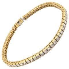 18 Karat Yellow Gold Princess Cut 7.20 Carat Diamond Inline Bracelet
