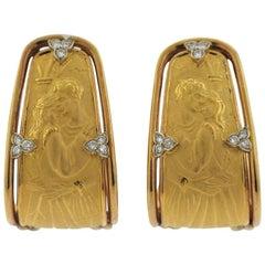 Carrera Y Carrera Ronda Gold Diamond Hoop Earrings