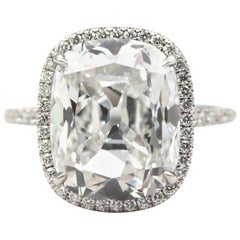 GIA Certified 7.53 Carat Cushion Cut Diamond Platinum Ring