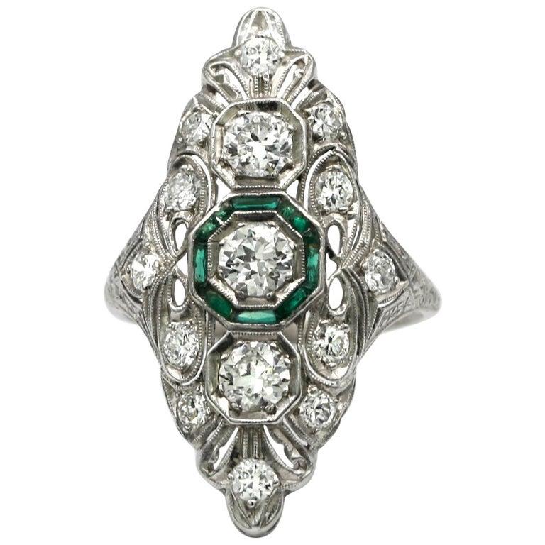 Fine Art Deco Emerald and Diamond Ring