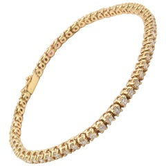 14 Karat Gold Round Brilliant 3.00 Carat Diamond Tennis Bracelet, 11.65 Grams