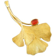 Christian Heyden Cologne Floral Fire Opal Gold Gingko Leaf Brooch