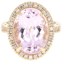 11.86 Carat Kunzite Diamond 14 Karat Yellow Gold Cocktail Ring
