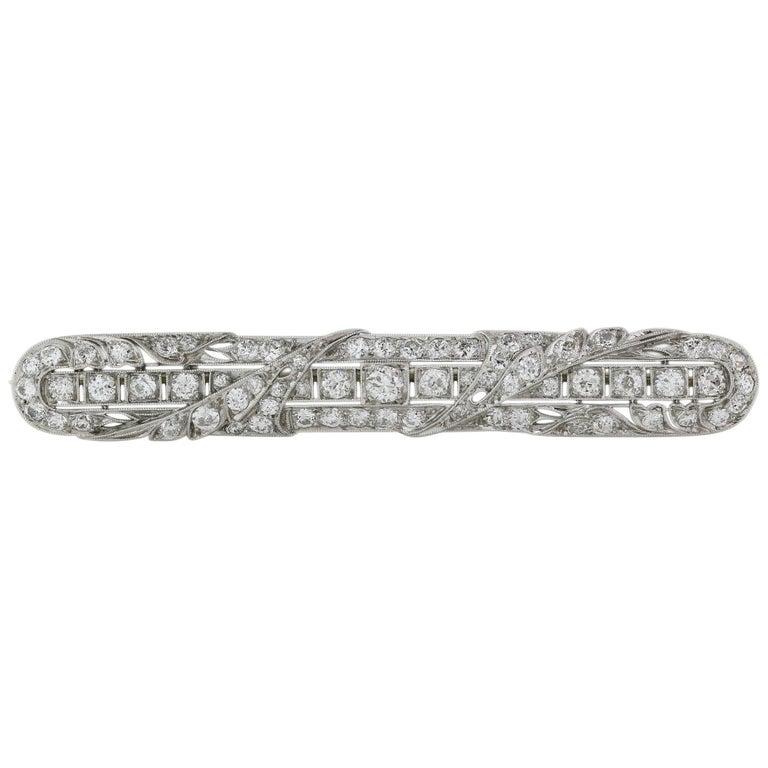 Platinum Edwardian Diamond Bar Pin