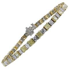 8.35 Carat Yellow and White Diamond Tennis Bracelet