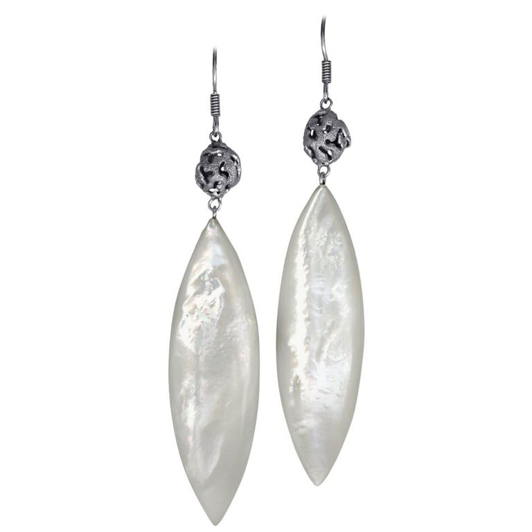 Alex Soldier Mother-of-pearl Sterling Silver Platinum Textured Drop Earrings