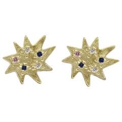 Emily Kuvin Mini Stella Gold, Diamond and Sapphire Organic Star Stud Earrings