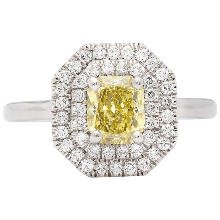 GIA 1.01 Carat Natural Fancy Intense Yellow Diamond Ring