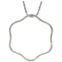 14 Karat White Gold Floating Diamond Circle Pendant on 14 Karat White Gold Chain