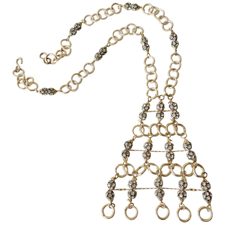 1960s Gold Toned Aluminum Rhinestone Statement Necklace For Sale