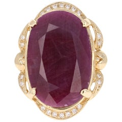 25.59 Carat Ruby Diamond Yellow Gold Ring