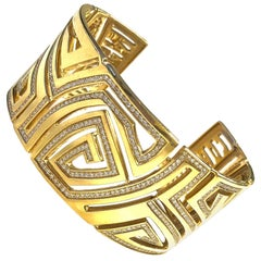 Corrupt Design Large Diamond Gold Cuff Bracelet