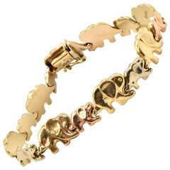14 Karat Tri-Color Gold Elephant Link Bracelet