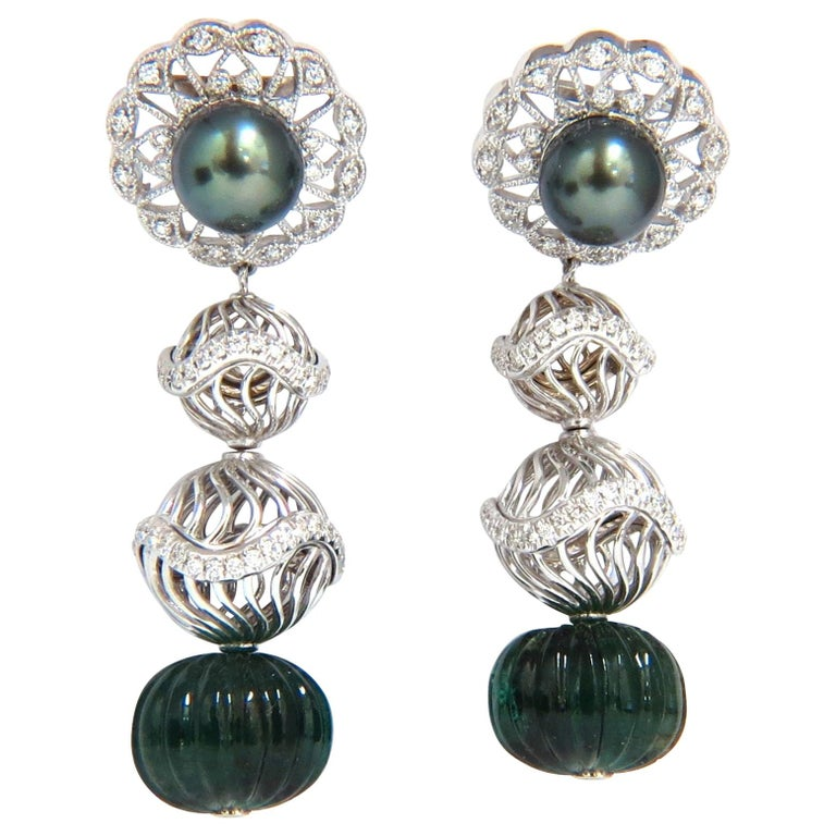 46CT Natural Emerald Diamond Peacock Tahitian Pearl Dangling Earrings 18Kt