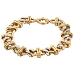 Gents Two-Tone 18 Karat Yellow and White Gold Fancy Rope Link Style Bracelet