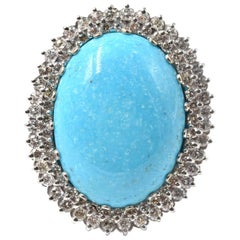Nevada Turquoise and Diamond 14 Karat White Gold Cocktail Ring