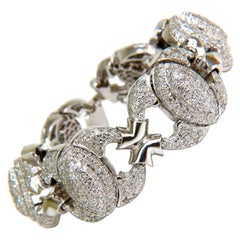 17.20 Carat Diamonds Hinge Linked Bracelet 14 Karat F/G VS Modern Deco