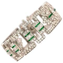 Art Deco Platinum, Diamond and Emerald Bracelet
