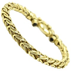 14 Karat Yellow Gold Wheat Link Gold Bracelet, 32.65 Grams