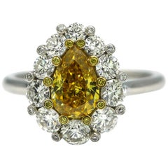 GIA Certified 1.09 Carat Fancy Vivid Yellow Diamond Engagement Ring