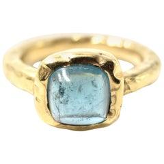 Blue Tourmaline 14 Karat Yellow Gold Hammered Ring