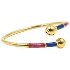 14 Karat Yellow Gold Enamel Bangle Bracelet