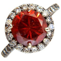 4.45 Carat Vivid Orange Red Fancy Diamond Halo Ring Prime Blackened