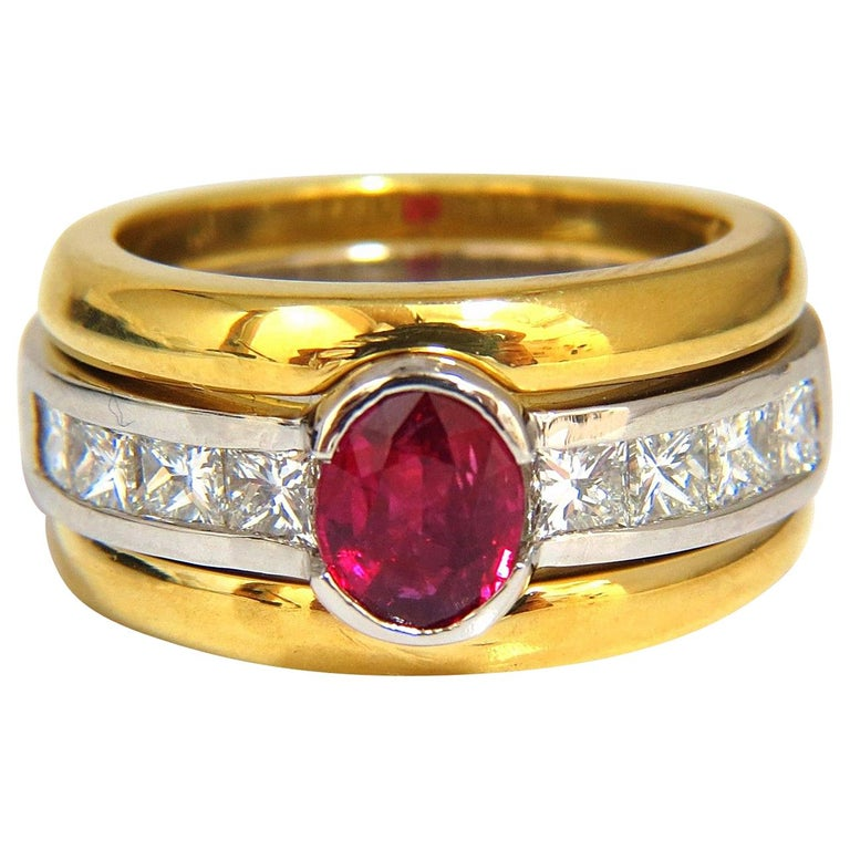 GIA Certified 2.13 Carat No Heat Ruby Diamonds Ring 18 Karat and Platinum Fused For Sale