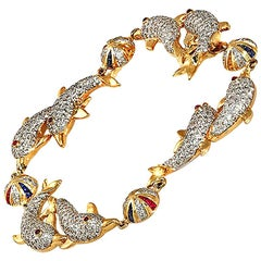 3.69 Carat Pave Diamonds 2.65 Carat Gemstones 18 Karat Gold Dolphins Bracelet