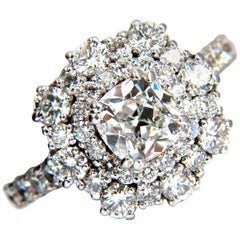 GIA Certified 1.70 Carat Cushion Cut Diamond Ring E/VS 14 Karat Cluster Petite