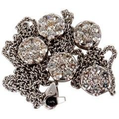 6.50 Carat Natural Diamonds Five Cluster Yard Necklace 14 Karat Floretta