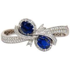 11.50 Carat Composite Sapphire Natural Diamonds Bangle Bracelet 14 Karat