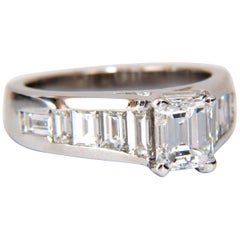 GIA Certified 2.31 Carat Emerald Cut Baguette Diamonds Ring 14 Karat
