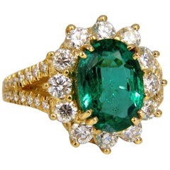 "GIA Certified 7.26 Carat Natural Emerald Diamonds Ring 18 Karat ""F2"" Halo Prime"