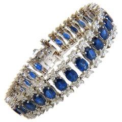 33.75 Carat Natural Gem Sapphire Diamond Bracelet Three-Row and Wide Cuff