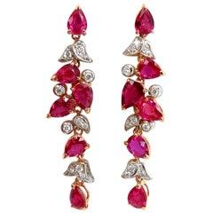 10.88 Carat Natural Red No Heat Ruby Diamond Dangle Earrings 18 Karat Unheated