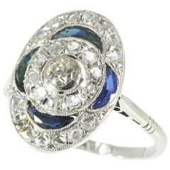 Art Deco Diamond and Sapphire Engagement Ring 18 Karat White Gold