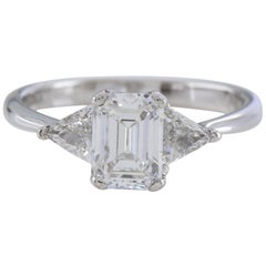 GIA Emerald Cut Three-Stone 1.28 Carat D VS2